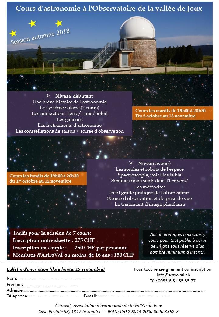 cours d'astronomie automne 2018