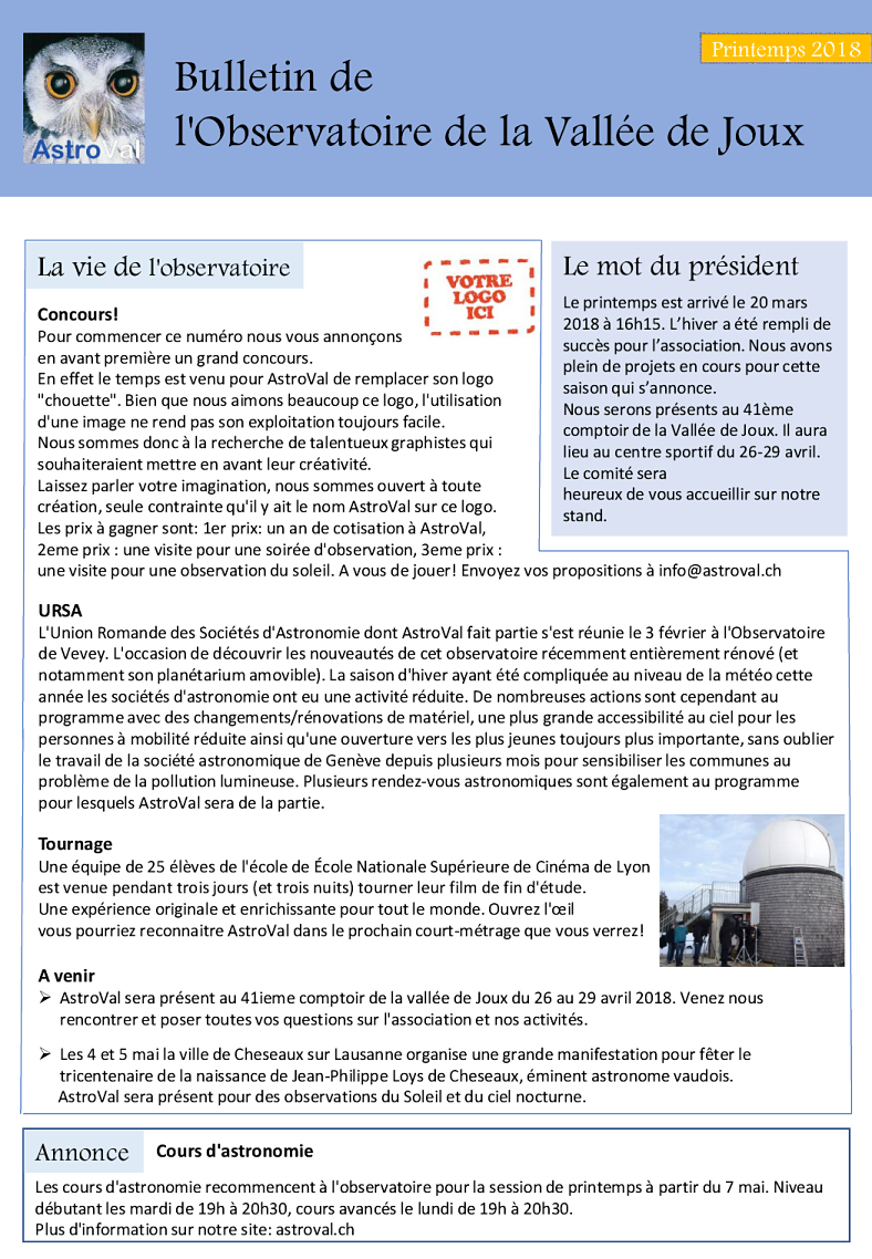 Bulletin AstroVal printemps 2018 page 1